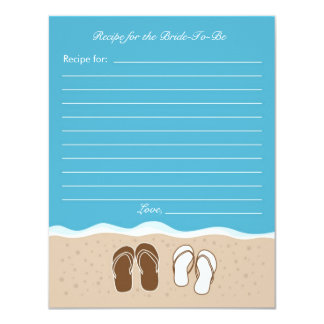 Flip Flops Bridal Shower Recipe Card