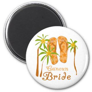 Flip Flops Cancun Bride 2 Inch Round Magnet