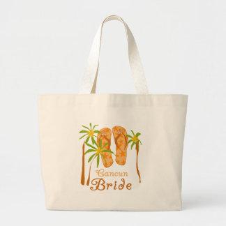 Flip Flops Cancun Bride Large Tote Bag