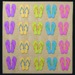 "Flip Flops Cloth Napkins<br><div class=""desc"">These Flip Flops Napkins (set of 4)features a sandy background, colorful flip flops in purple, yellow, blue, pink and green with orange flowers. Perfect for kitchen or dinning room. Also makes a wonderful housewarming gift! Available in two sizes; 20&quot; x 20&quot; dinner size or 12&quot;x12&quot; cocktail size. Matching items include;...</div>"