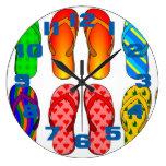 Flip Flops Colorful Fun Beach Theme Summer Clock