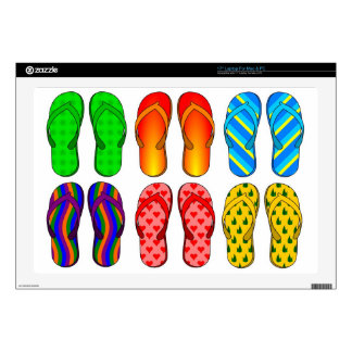 "Flip Flops Colorful Fun Beach Theme Summer Gifts 17"" Laptop Skins"