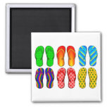 Flip Flops Colorful Fun Beach Theme Summer Gifts 2 Inch Square Magnet