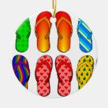 Flip Flops Colorful Fun Beach Theme Summer Gifts Ceramic Ornament