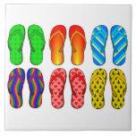 "Flip Flops Colorful Fun Beach Theme Summer Gifts Ceramic Tile<br><div class=""desc"">Flip Flops Colorful Fun Beach Theme Summer Gifts</div>"