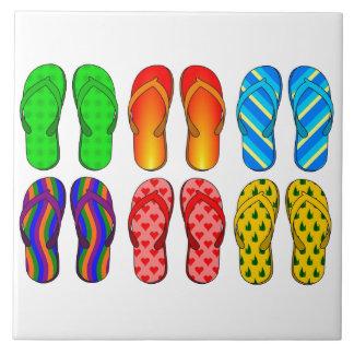 Flip Flops Colorful Fun Beach Theme Summer Gifts Ceramic Tile