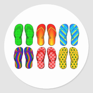 Flip Flops Colorful Fun Beach Theme Summer Gifts Classic Round Sticker