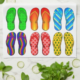 Flip Flops Colorful Fun Beach Theme Summer Gifts Kitchen Towel