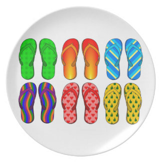 Flip Flops Colorful Fun Beach Theme Summer Gifts Dinner Plates