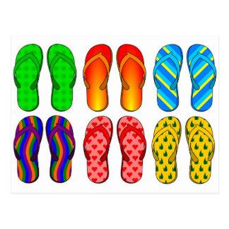 Flip Flops Colorful Fun Beach Theme Summer Gifts Postcard