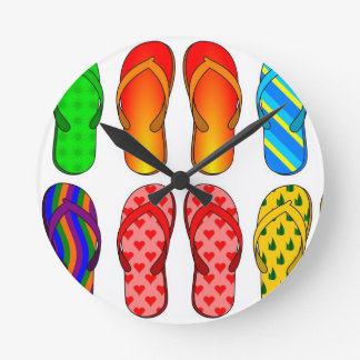 Flip Flops Colorful Fun Beach Theme Summer Gifts Round Clock