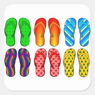 Flip Flops Colorful Fun Beach Theme Summer Gifts Square Sticker