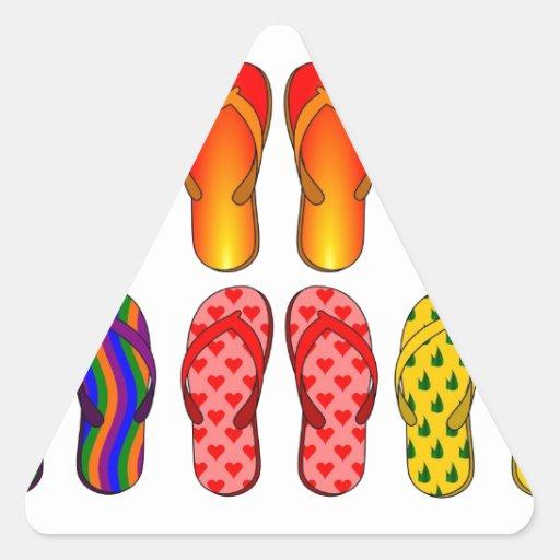 Flip Flops Colorful Fun Beach Theme Summer Gifts Triangle Sticker
