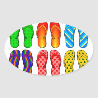 Flip Flops Colorful Fun Beach Theme Summer Gifts Oval Stickers