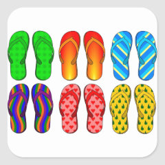 Flip Flops Colorful Fun Beach Theme Summer Gifts Stickers