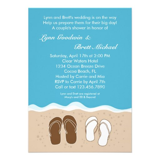 Flip flops couple 39 s bridal shower invitation 5 x 7 for Wedding couples shower invitations