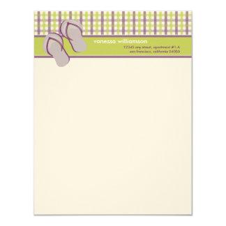 Flip Flops Custom Flat Note Cards (lime/lavender)