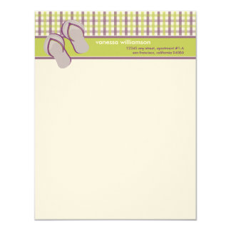 Flip Flops Custom Flat Note Cards (lime/lavender) Personalized Invites