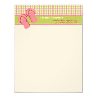 Flip Flops Custom Flat Note Cards (lime/pink)
