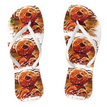 Beach Themed Flip Flops - Cute Teddy Bears