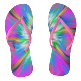 Flip Flops  Exploding Palette of Blue and Pink