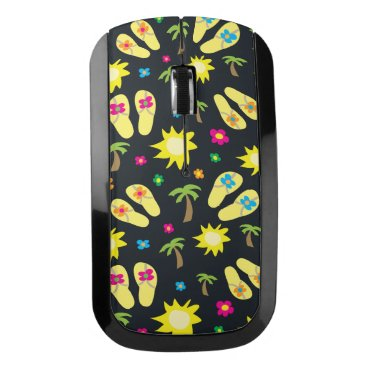 Beach Themed Flip Flops Flowers Palm Trees Black Wireless Mouse