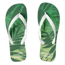 flip flops for guests with tropical design