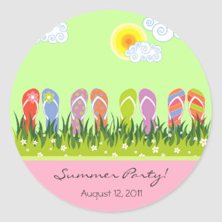 Flip Flops Fun In The Sun Summer Party Sticker