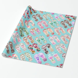 Flip Flops Girly Trendy Abstract Pattern On Teal Wrapping Paper