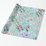 Flip Flops Girly Trendy Abstract Pattern On Teal Gift Wrapping Paper