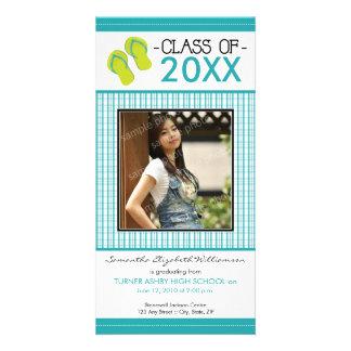 Flip Flops Graduation Photo Announcement: aqua Card