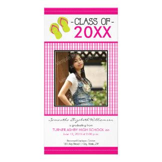 Flip Flops Graduation Photo Announcement: fuschia Photo Card