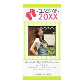 Flip Flops Graduation Photo Announcement: lime Card