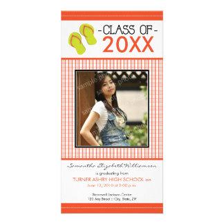Flip Flops Graduation Photo Announcement: orange Card