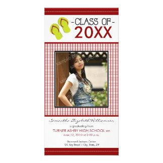 Flip Flops Graduation Photo Announcement: red Card