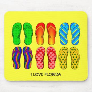 """Flip Flops, """"I Love Florida"""" Mouse Pad"""