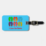 Flip Flops, I Love the Beach Tags For Luggage