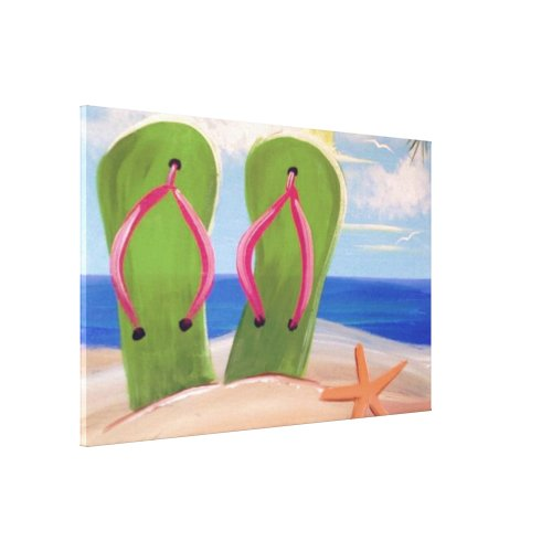Flip Flops in the Sand Canvas Print