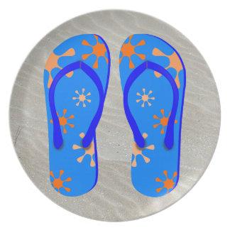 Flip Flops in the Sand Dinner Plates