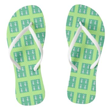 Beach Themed Flip flops, mint green, Auk design Flip Flops