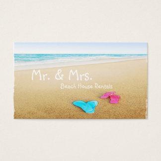 Flip Flops on Beautiful Beach Vacation Rental Business Card