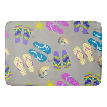 Beach Themed Flip Flops On The Beach Bathroom Mat