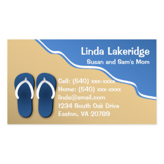Flip Flops on the Beach Mommy Contact  Info Card