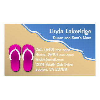 Flip Flops on the Beach Mommy Contact  Info Card Double-Sided Standard Business Cards (Pack Of 100)
