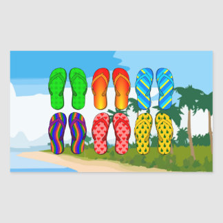 Flip Flops on the Beach Rectangular Sticker