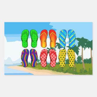 Flip Flops on the Beach Rectangular Sticker