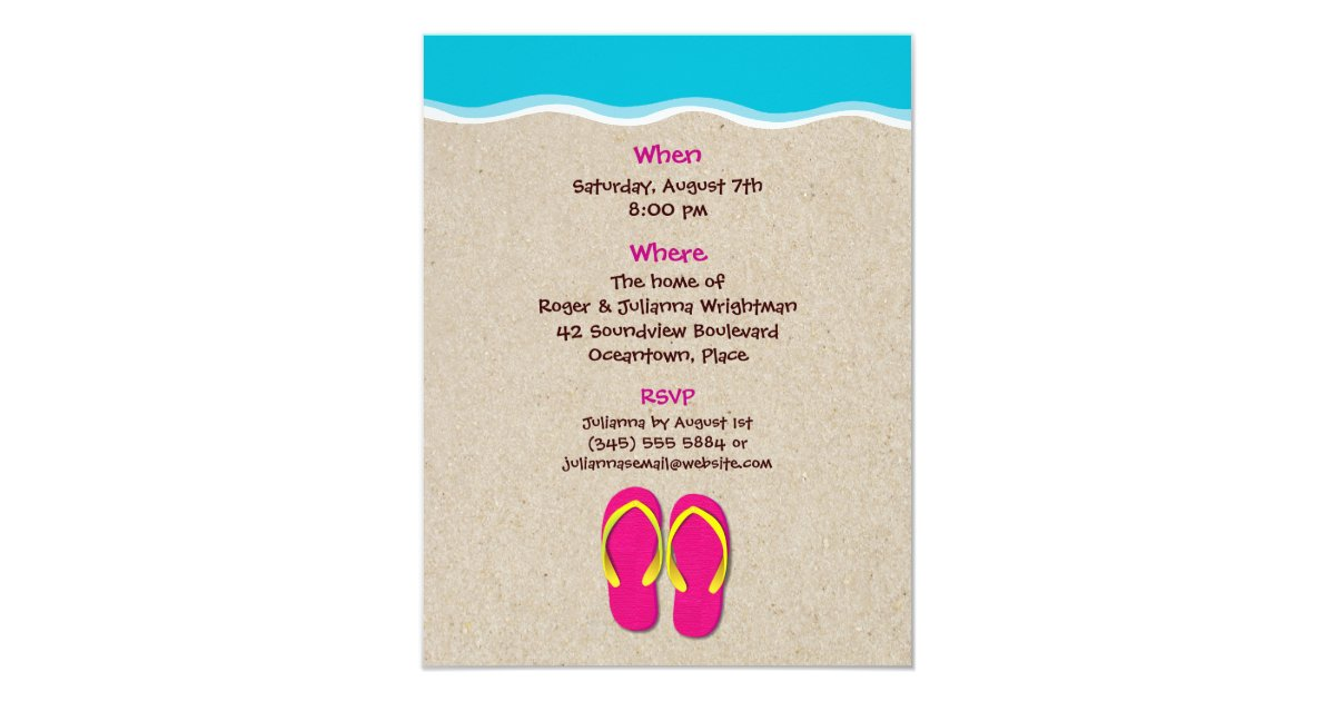 Flip Flops On the Beach Summer Party Invitation – Flip Flop Party Invitations