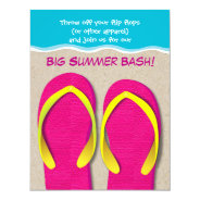 Flip Flops On the Beach Summer Party Invitation at Zazzle