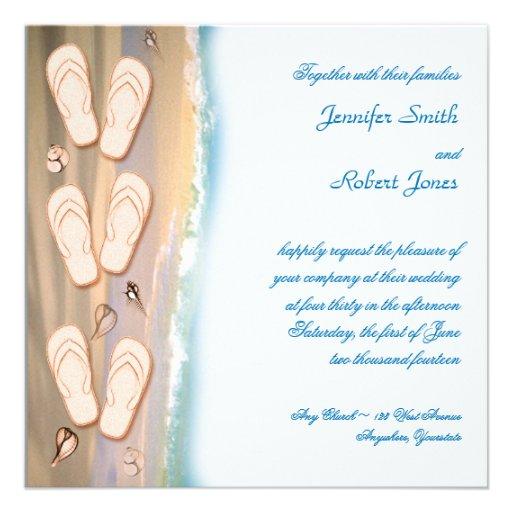 "Flip Flops on the Beach Wedding Invitation 5.25"" Square ..."