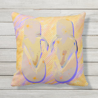 Flip Flops (orange/purple) Throw Pillow